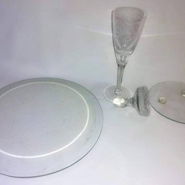 4 peças em vidro de espessuras diferentes