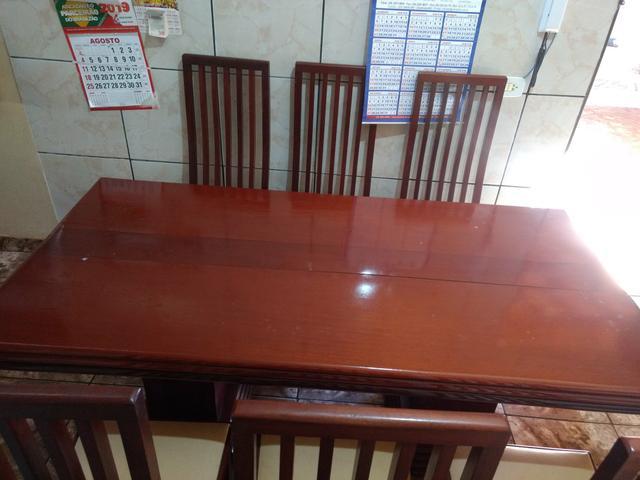 Mesa de madeira pura mogno 6 cadeiras