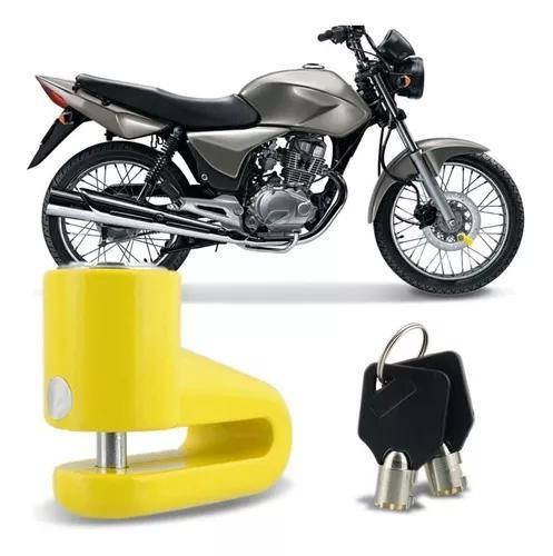 Trava Anti Furto Universal Amarelo Freio A Disco Moto