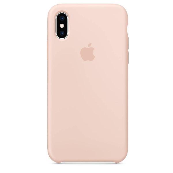 capa de silicone para iphone x e xs areia rosa