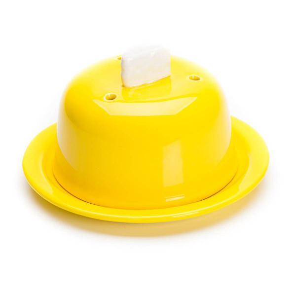 queijeira com tampa porta queijo cerâmica decorado amarelo