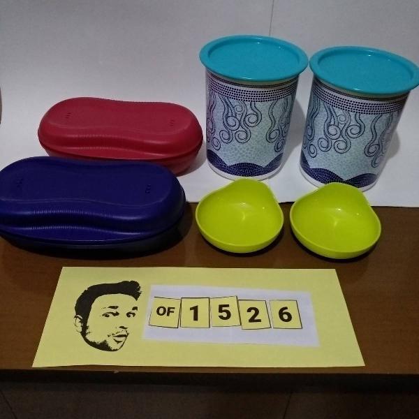 tupperware kit 2 potes 1,1l + 2 potes para micro + 2 p/ ovos