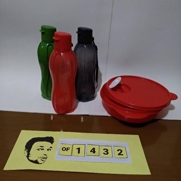 tupperware kit 3 garrafas 500ml + marmita de micro 1l