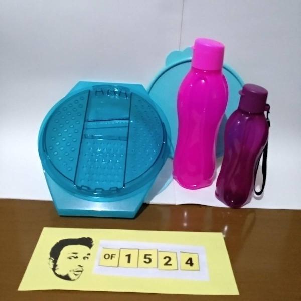 tupperware kit garrafa 1l pink + garrafa 500ml +pratica mint