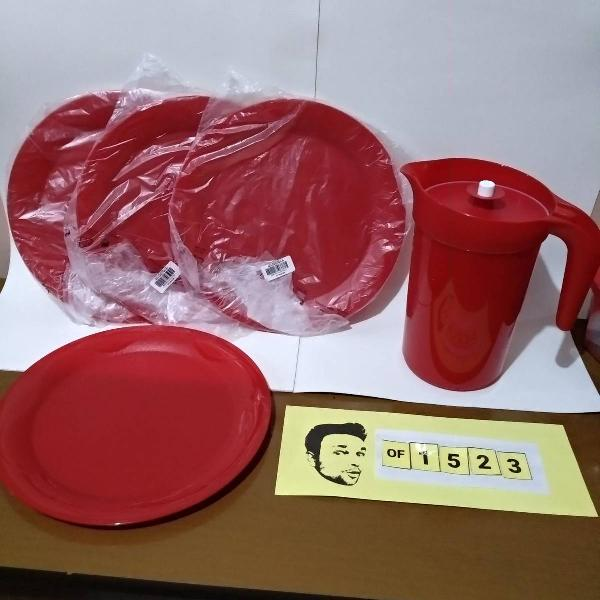 tupperware kit jarra 2l + 4 pratos para servir cor marsala
