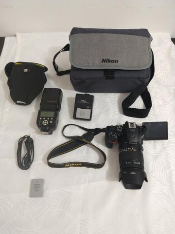 Kit Nikon D + Lente Sigma  + Flash + Bateria extra