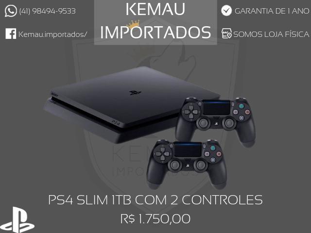PS4 Slim 1TB com 2 controles - 1 ano de garantia