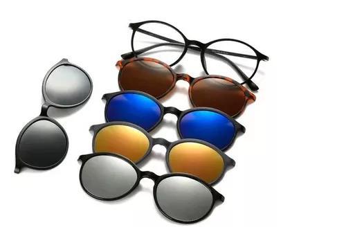 Armação Redonda Óculos Clip On 6 Lentes Grau Preto