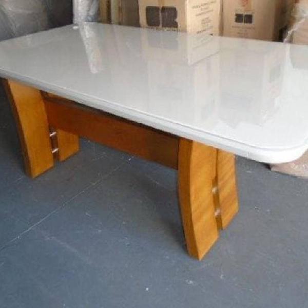 Mesa com base de madeira maciça, 2 tampos sendo 1 off White