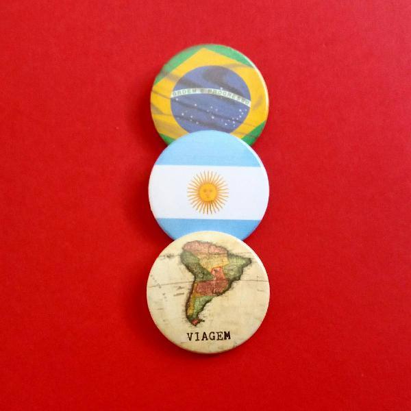 kit (3) bottons: Brasil, Argentina e viagem