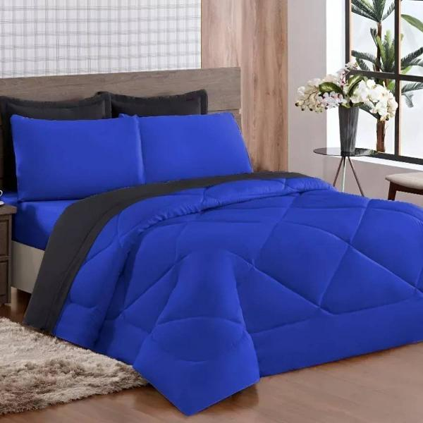 kit edredon ternura casal queen 06 peças azul / preto
