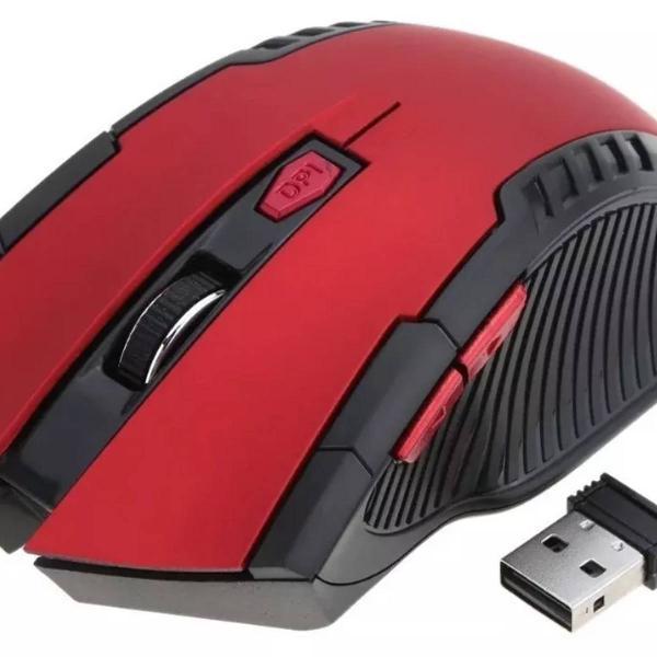 mouse gamer sem fio vermelho e preto
