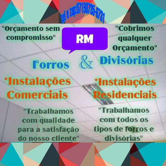 Rm forros e divisórias instalação e manutenção