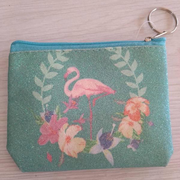 bolsinha para moedas flamingo verde