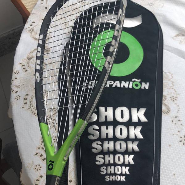 vendo raquete de squash shok companion . cor preta e verde