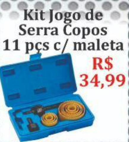 Kit jogo de Serra copos 11 peças com maleta