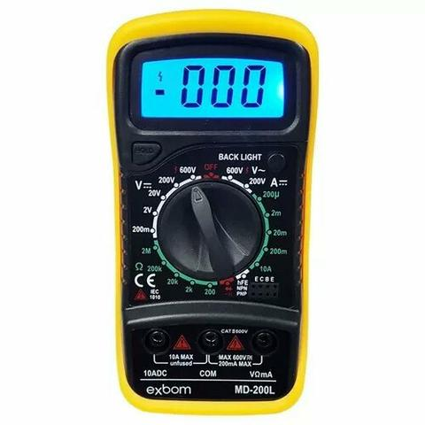 Multimetro Digital Lcd Md-200l Voltimetro Amperimetro Exbom