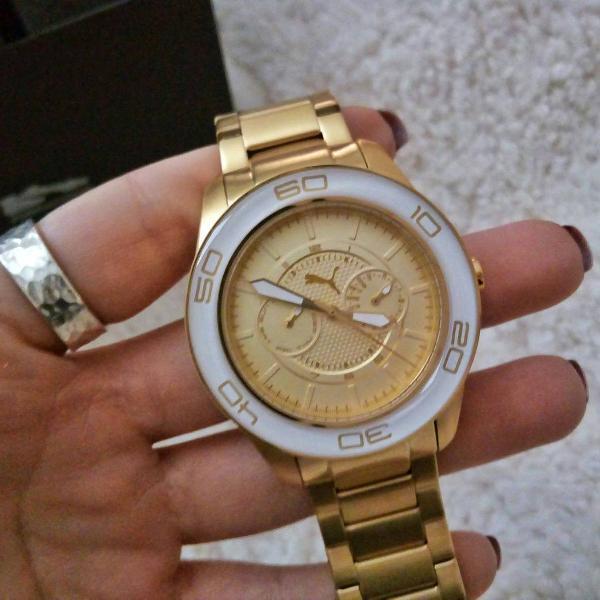 relógio puma para mulheres, dourado com branco!