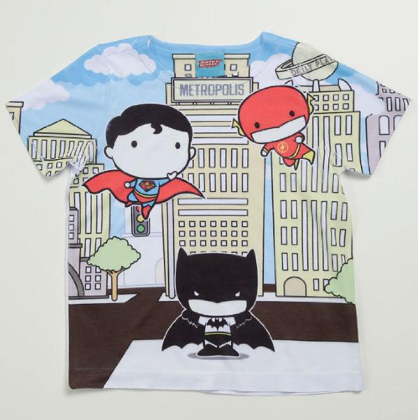 Camiseta Infantil Estampada Manga Curta Liga da Justiça