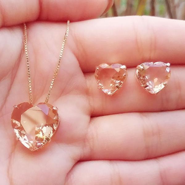conjunto colar e brinco zirconias rose