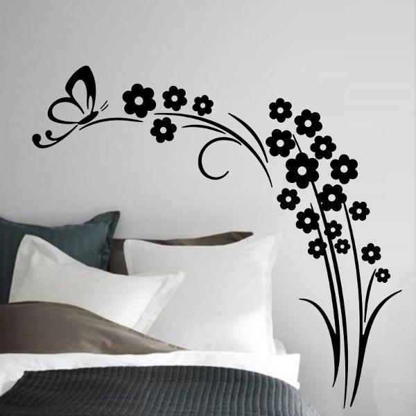 adesivo decorativo de parede arvore galho borboleta flor