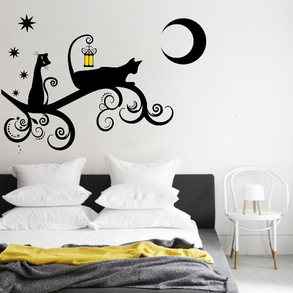 adesivo decorativo de parede arvore galho gato gata cat lua