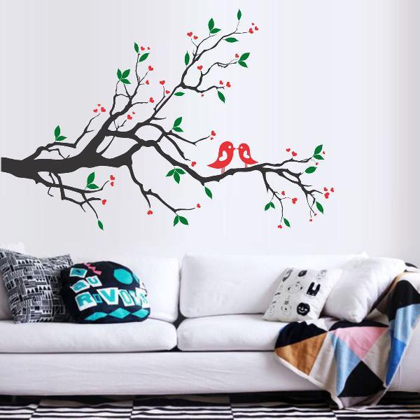adesivo decorativo de parede arvore galho passaro flor