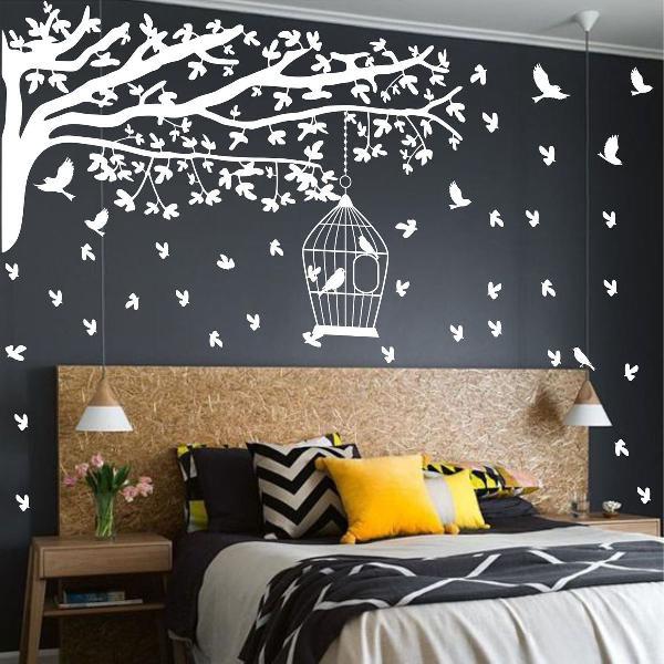 adesivo decorativo de parede arvore gameleira pássaros