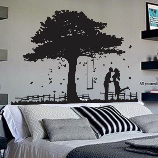 adesivo decorativo de parede gigante arvore namorados love