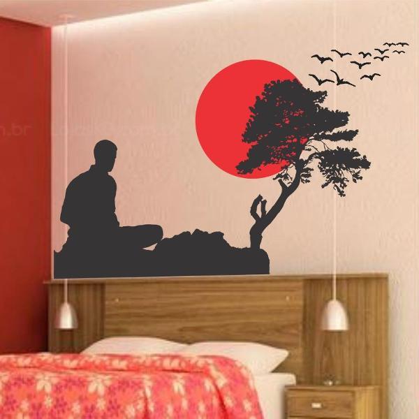 adesivo decorativo de parede oriental bonsai meditacao japan