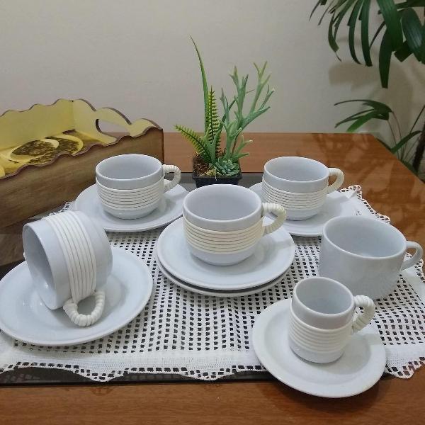 conjunto de xícaras para chá e café com pires - 20