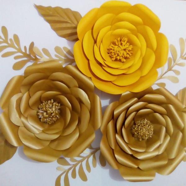 flor dourada de papel kit