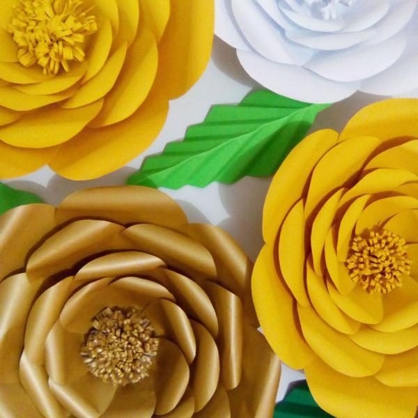 flores de papel kit com 6 unidades de 30cm