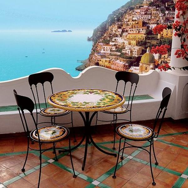 mesa de pedra vulcânica italiana