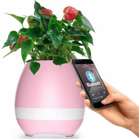 Caixa De Som Vaso De Flores Musica Inteligente Bluetooth