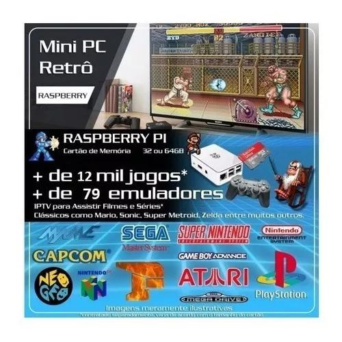Kit Raspberry 12.700 Jogos Recalbox 6.0 2 Controles S