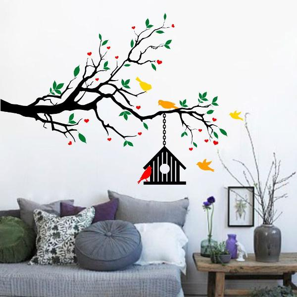 adesivo decorativo arvore passarinhos galho quarto sala