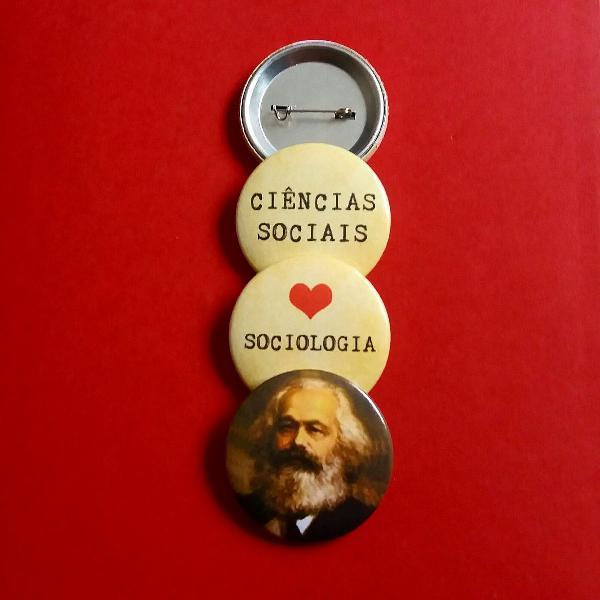 kit (3) bottons: Ciências Sociais e Marx