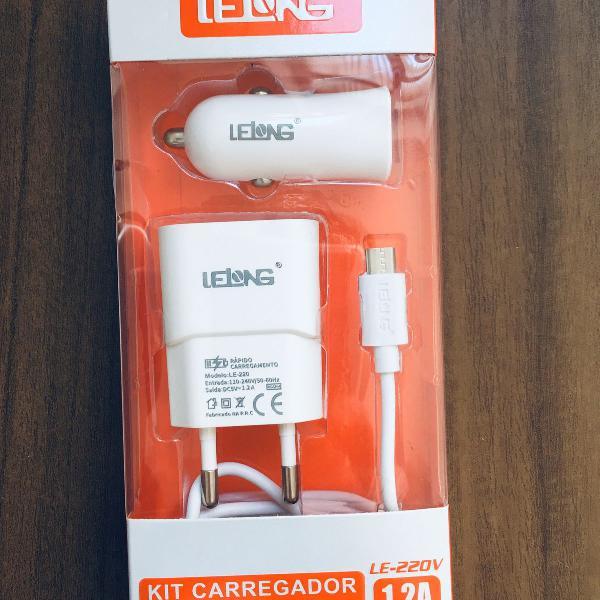 kit carregadores micro usb veicular tomada com cabo motog