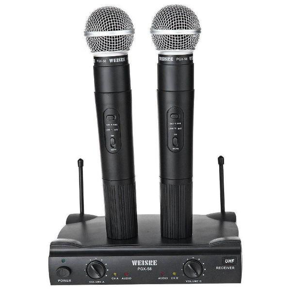microfone sem fio duplo profissional lelong le-906 110/220v