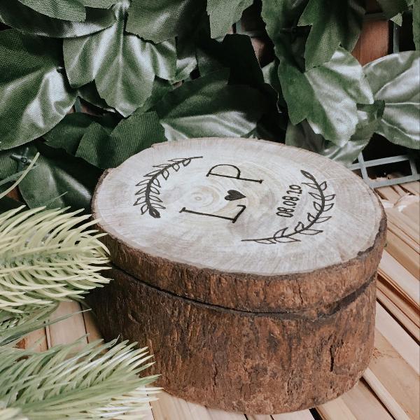 porta alianças rústico em madeira