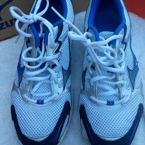 tênis mizuno running wave nitron branco / azul - tam. 40