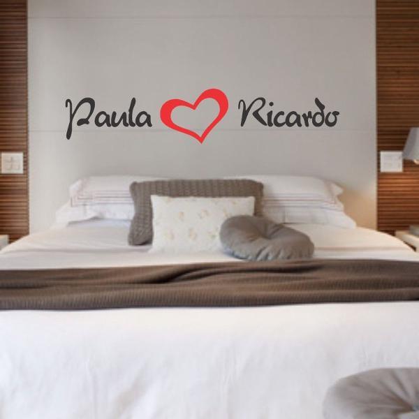 adesivo nome do casal cabeceira de cama