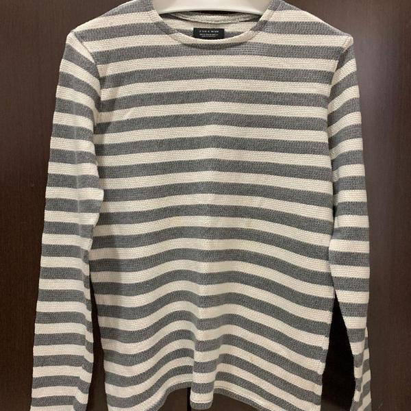 blusa tricot manga longa listrada cinza