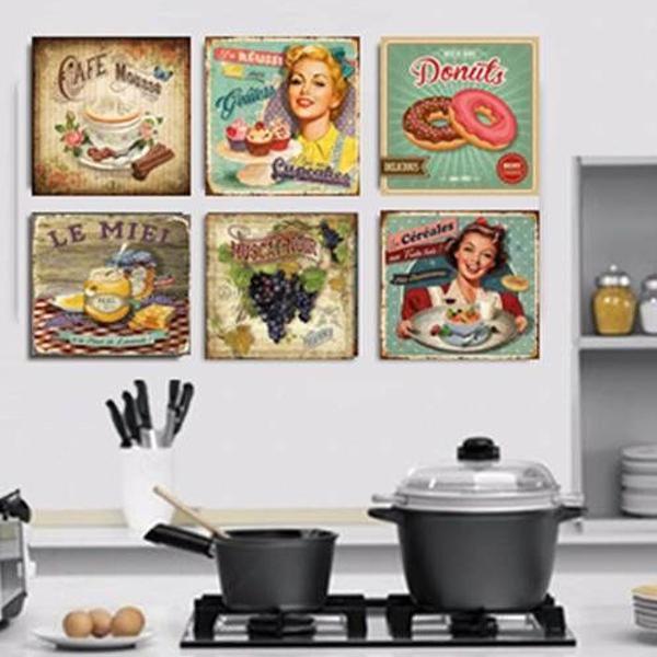 kit com 6 placas decorativas em mdf vintage novo -