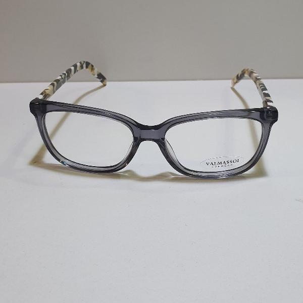 armação oculos de grau quadrado fumê cinza com astes