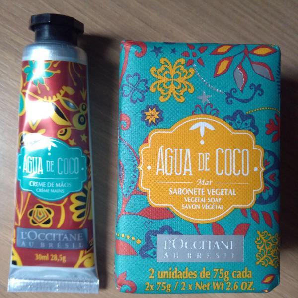 l'occitane água de coco (creme de mãos + sabonetes)