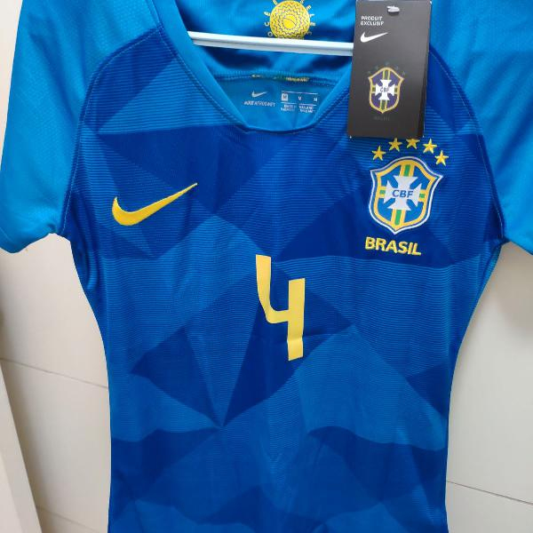 camiseta seleção brasileira brasil baby look oficial