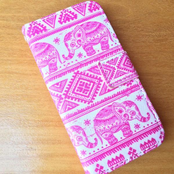 Capa/case carteira para Iphone 5/5S Elefante Indiano Rosa