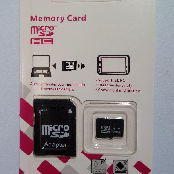Cartão de memória 128GB Classe 10 SDHC + SD Adaptador